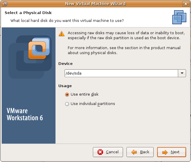 VMWare physical disk detection